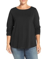 Sejour Plus Size Ballet Neck Long Sleeve Tee