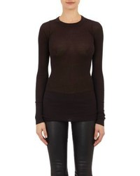 Rick Owens Rib Knit Long Sleeve T Shirt Black