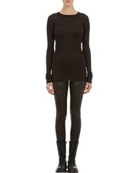 Rick Owens Rib Knit Long Sleeve T Shirt Black