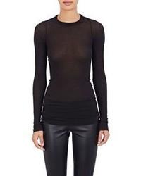 Rick Owens Ribbed Long Sleeve Long T Shirt Black