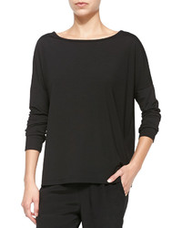 Alexander Wang T By Long Sleeve Tee With Boat Neck Black