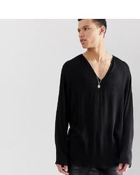 ASOS DESIGN Tall Regular Fit Overhead Shirt In Crinkle Viscose In Black