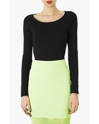 Topshop Ribbed Long Sleeve Top Black 6