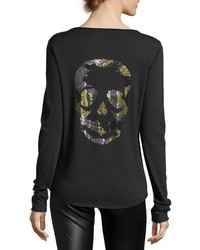 Zadig & Voltaire Tunisien Long Sleeve Beaded Skull Cotton Tee