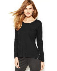Vince Camuto Two By Long Sleeve Zip Back Tee