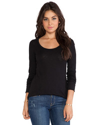 Bobi Vintage Long Sleeve Tee In Black Size L