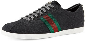 eec5a65e $695, Gucci Bambi Web Low Top Sneaker With Stud Detail Black