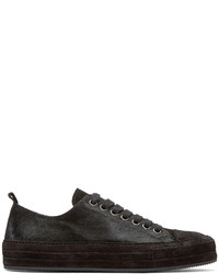 Ann Demeulemeester Black Calf Hair Sneakers
