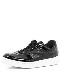 River Island Black Chunky Patent Lace Up Sneakers
