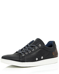 River Island Black Leather Minimal Sneakers