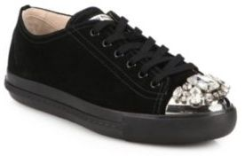 Miu Miu Suede Swarovski Crystal Low Top Sneakers Where To Buy
