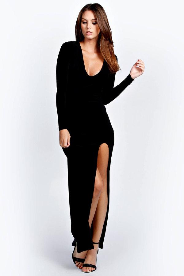4fca09df9089 Boohoo Tanya Cross Back Long Sleeve Maxi Dress, $44 | BooHoo ...