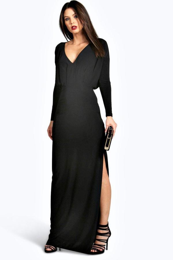 ce97cc0182cc ... Boohoo Leah Slinky Plunge Neck Long Sleeve Maxi Dress ...