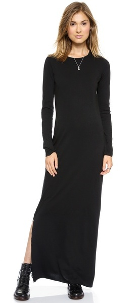 a05d9aa6777bd ... Black Maxi Dresses Daftbird Long Sleeve Maxi Dress With Slit ...