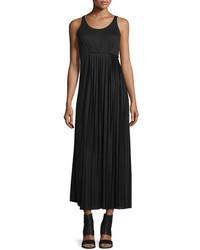 Maison Margiela Pleated Side Maxi Dress Black