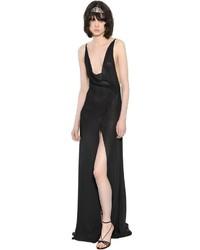 Saint Laurent Backless Viscose Crepe Maxi Dress