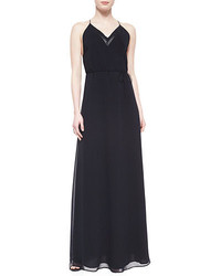 Andrew Marc V Neck Georgette Maxi Dress