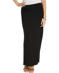 Tahari Black Stretch Knit Gemma Fitted Maxi Skirt With Knot Detail