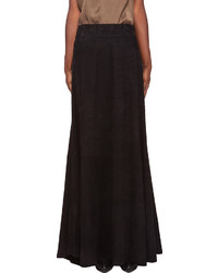 Balmain Black Suede Maxi Skirt