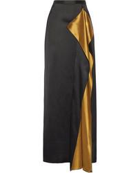 Rosetta Getty Draped Satin Maxi Skirt Black