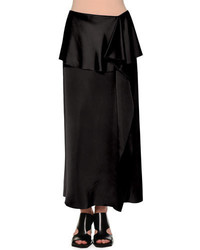 Marni Fold Waist Side Ruffle Maxi Skirt Black
