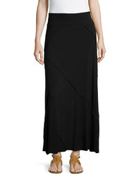 Neiman Marcus Layered Ruffled Maxi Skirt Black