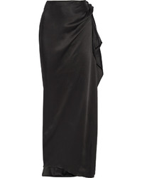Lanvin Sold Out Wrap Effect Satin Maxi Skirt