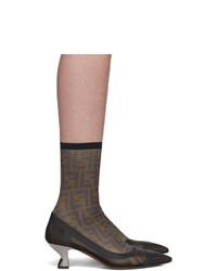 Fendi Black Mesh Forever Colibri Sock Boots