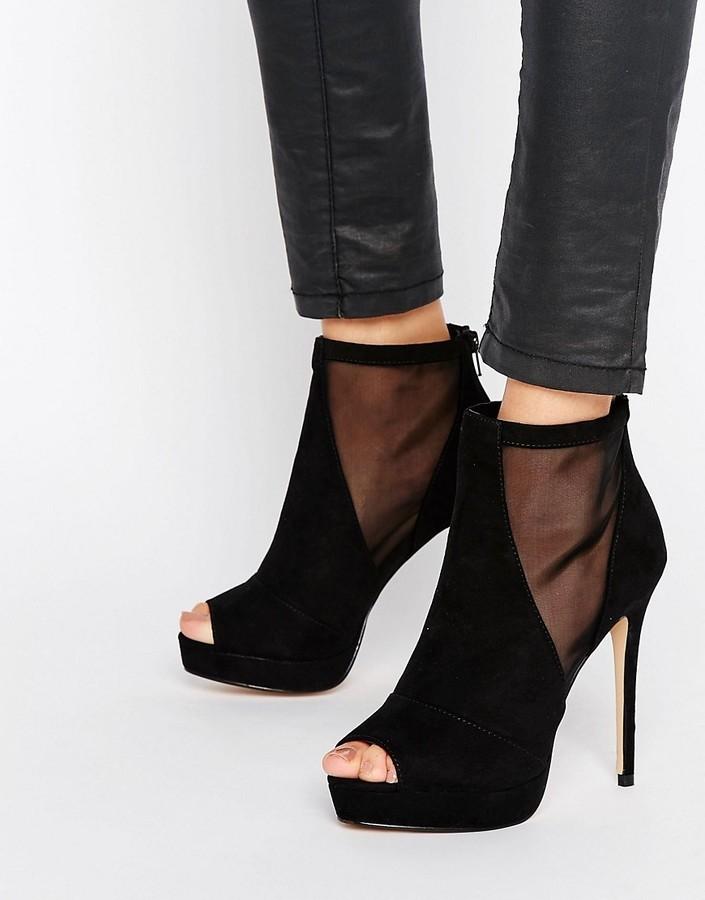 dde8c672c9d ... Black Mesh Ankle Boots Aldo Jaina Mesh Detail Peeptoe Platform Heeled  Ankle Boots ...