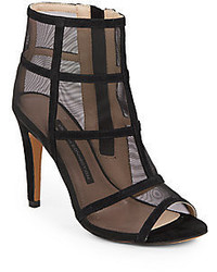 French Connection Quanna Suede Mesh Caged Open Toe Ankle Boots