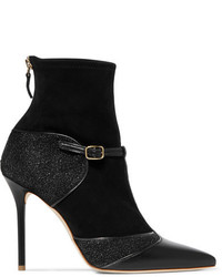 Malone Souliers Sadie Suede Leather And Glittered Mesh Boots Black