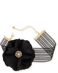 Lydell NYC Statet Flower Mesh Choker Necklace Black