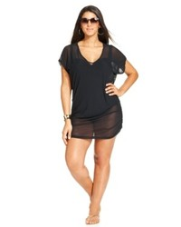 Anne Cole Plus Size Mesh Tunic Cover Up Swimsuit