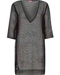 River Island Black Mesh Side Split Tunic
