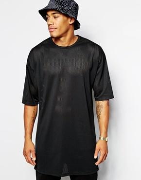 Black Mesh Crew Neck T Shirt Asos Brand Super Longline T