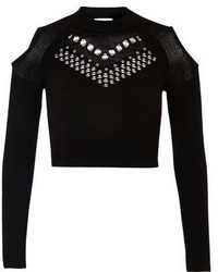 River Island Black Studded Mesh Knit Crop Top