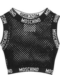 Moschino Cropped Cotton Mesh Top