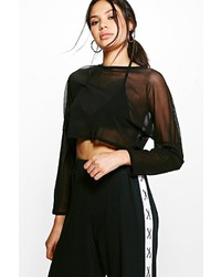 Boohoo Lilly Oversized Mesh Long Sleeve Crop