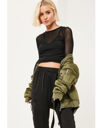Missguided Black Cami Overlay Ribbed Mesh Crop Top