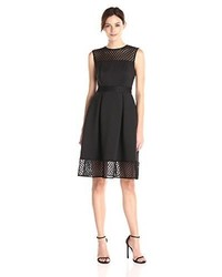 Calvin Klein Fit And Flare Dress With Novelty Inserts