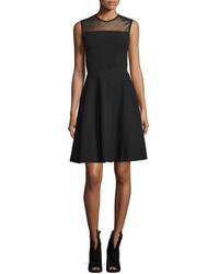 Burberry Mesh Yoke Fit  Flare Dress Black