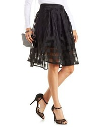 Checkered Organza Full Midi Skirt