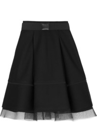 Donna Karan New York Pleated Mesh Trimmed Scuba Modal Skirt