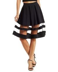 Organza Striped Full Midi Skirt