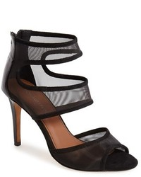 Black Mesh Heeled Sandals