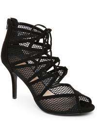 Nine West Black Adriatic Mesh Lace Up Sandals