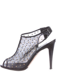 Brian Atwood Studded Mesh Sandals