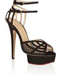 Charlotte Olympia Octavia Suede And Mesh Platform Sandals Black