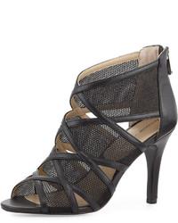 Adrienne Vittadini Garo Cutout Mesh Sandal Black