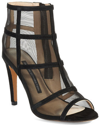 French Connection Leather Mesh Peep Toe